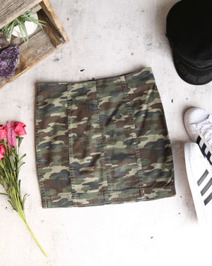 free people - modern femme novelty mini skirt - camo green