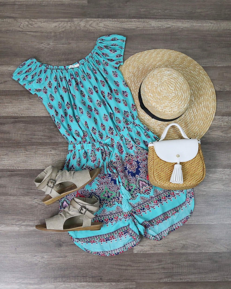 Final Sale - LÉ SALTY - Palms Playsuit in Turquoise