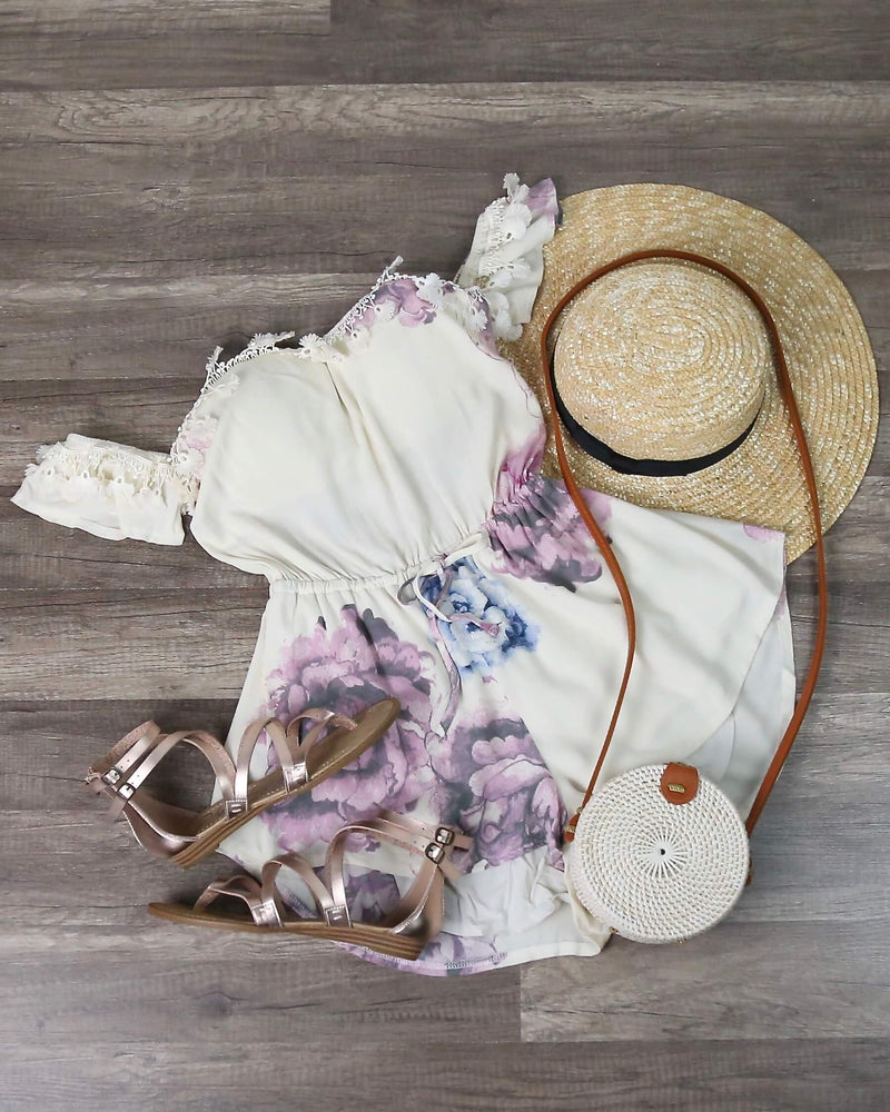 Pastel Floral Print Off The Shoulder Strapless Romper in Cream