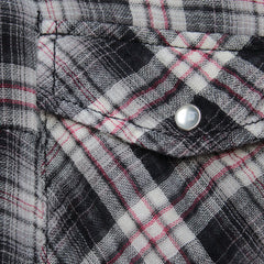 vintage affair soft button up womens plaid flannel long sleeve shirt - black/red - shophearts - 2