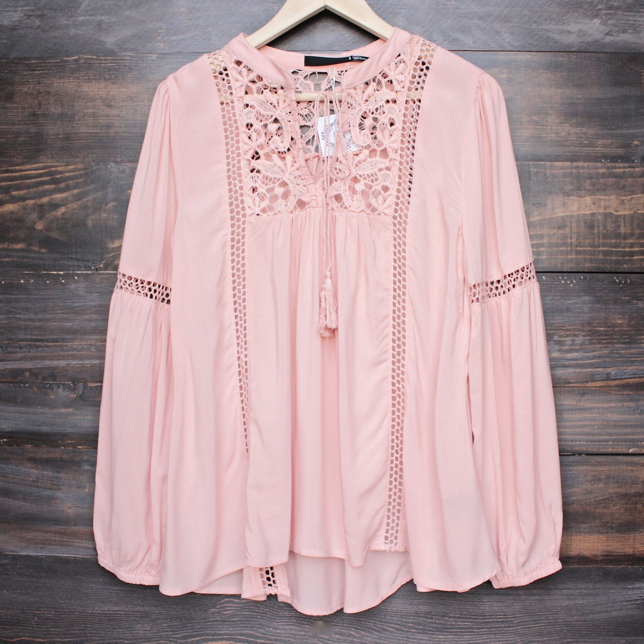 boho long sleeve peasant blouse with lace inset - dark salmon - shophearts - 1