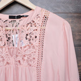 boho long sleeve peasant blouse with lace inset - dark salmon - shophearts - 2