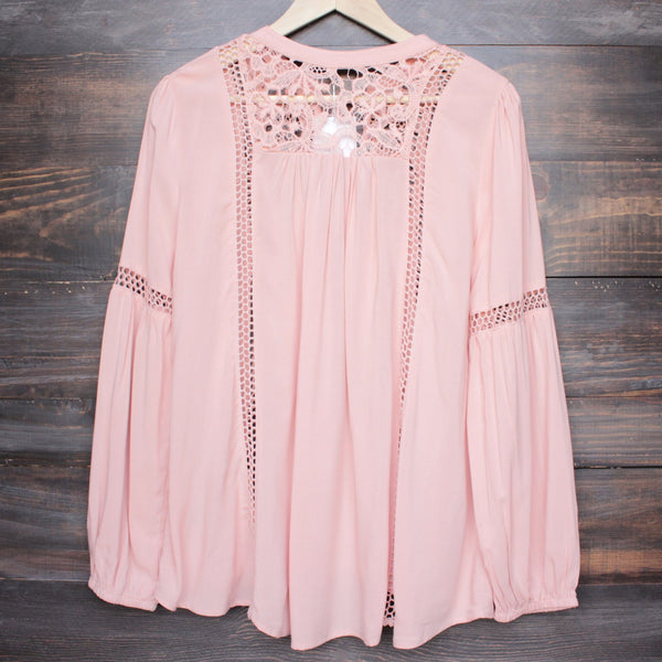 boho long sleeve peasant blouse with lace inset - dark salmon - shophearts - 4