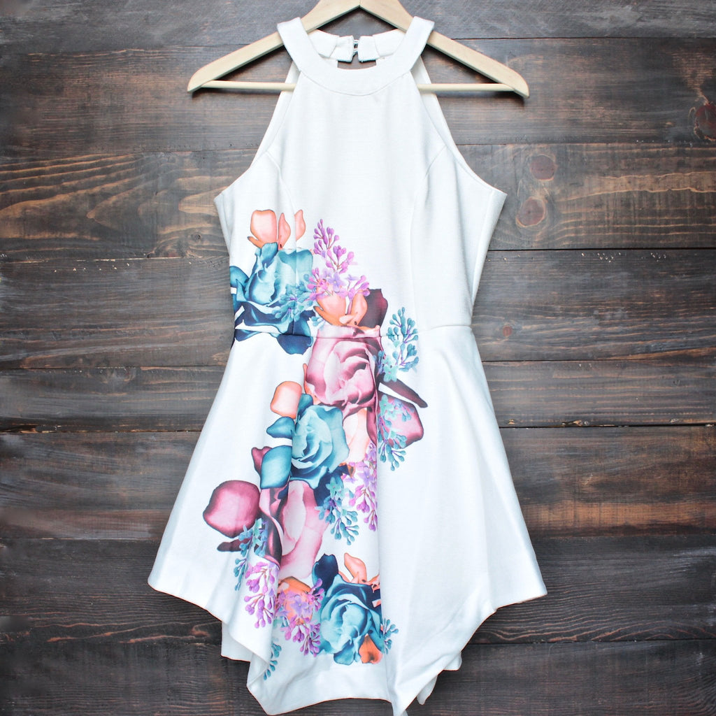 floral fit and flare open back dress - shophearts - 1