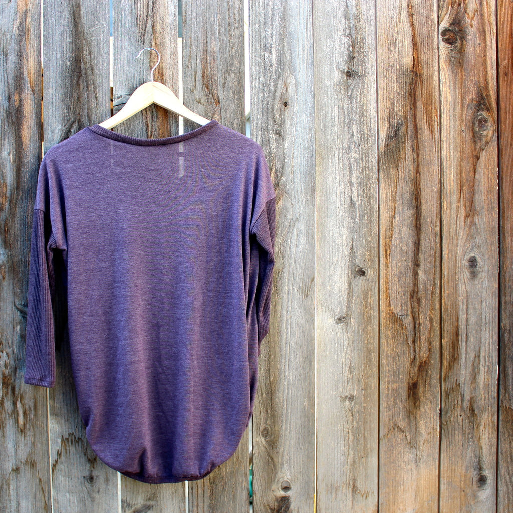sequin pocket tunic top , plum - shophearts - 2