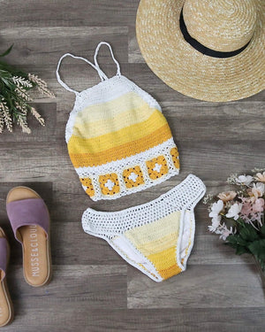 Final Sale - Never Be The Same Crochet Mosaic Bikini Set in Yellow