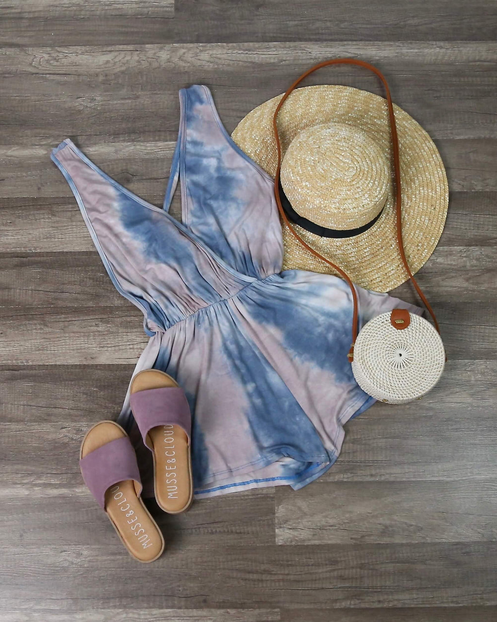 Beach Day Sleeveless Tie Dye Romper