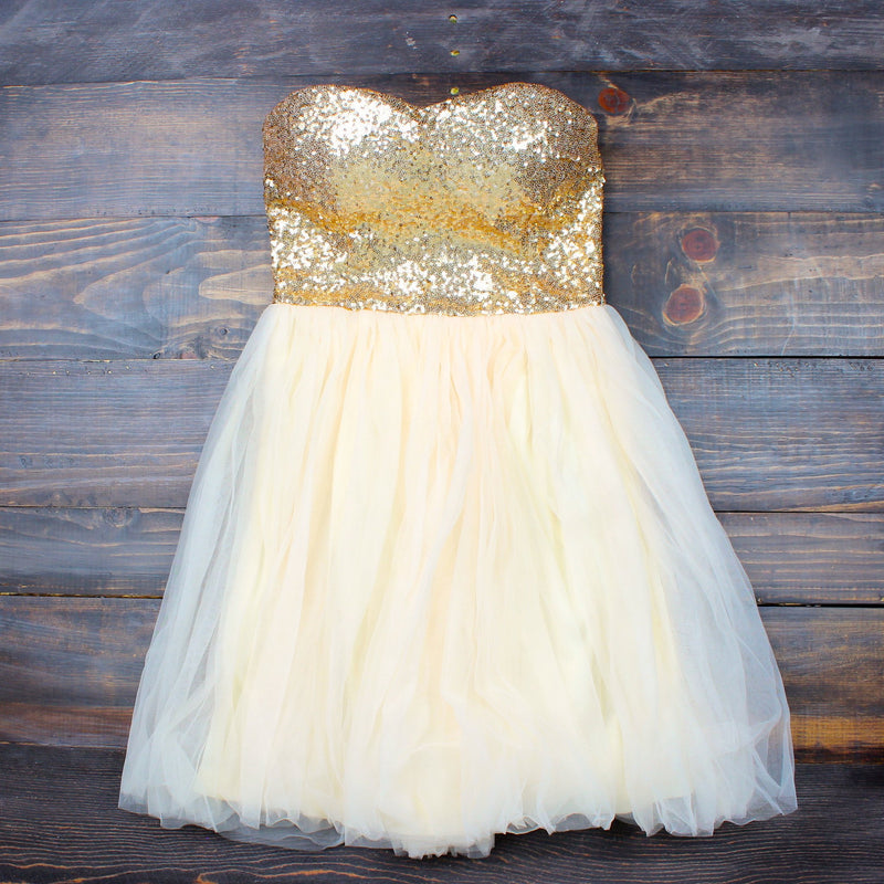 final sale - gold quartz strapless sequin party dress - prom 2015 - shophearts