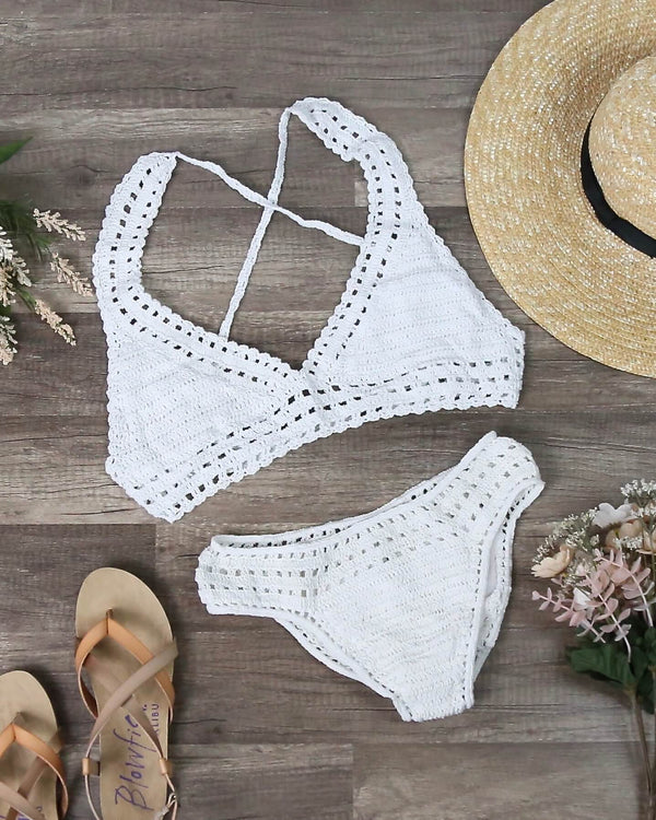 Halter Crochet Set with Ruched Bottom in White