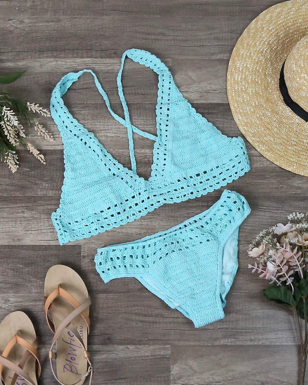 Halter Crochet Set with Ruched Bottom in Mint