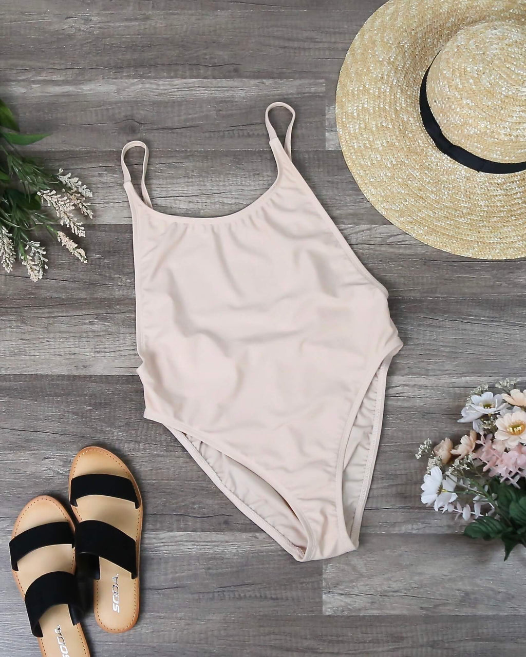 Final Sale - Dippin' Daisy's - Take a Dip High Cut One Piece Swimsuit in Taupe