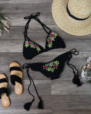 Final Sale - Handmade Floral Embroidered Detail Crochet Bikini in Black