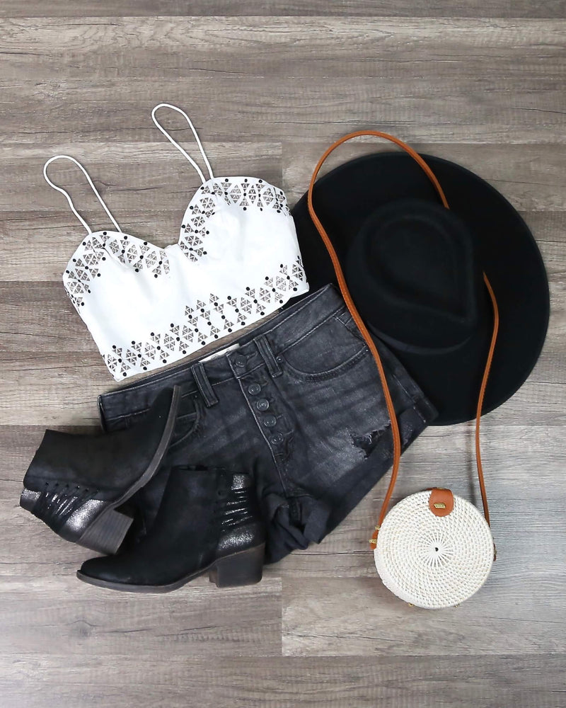 The Jetset Diaries - Aztec Bustier Top in White
