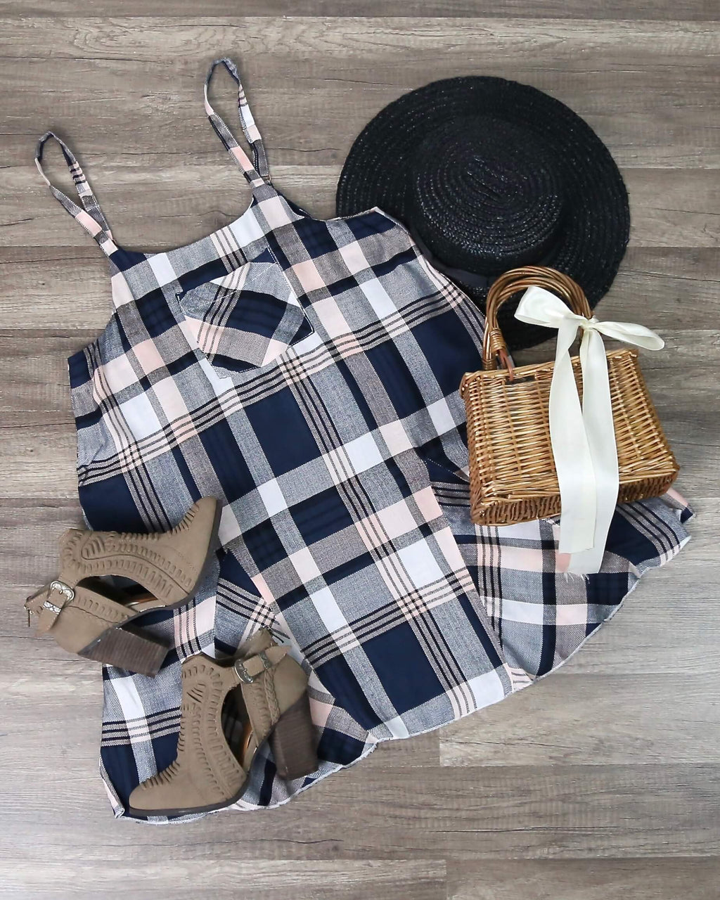 Final Sale - Somedays Lovin - Morning Rain Pinafore Plaid Dress in Multi