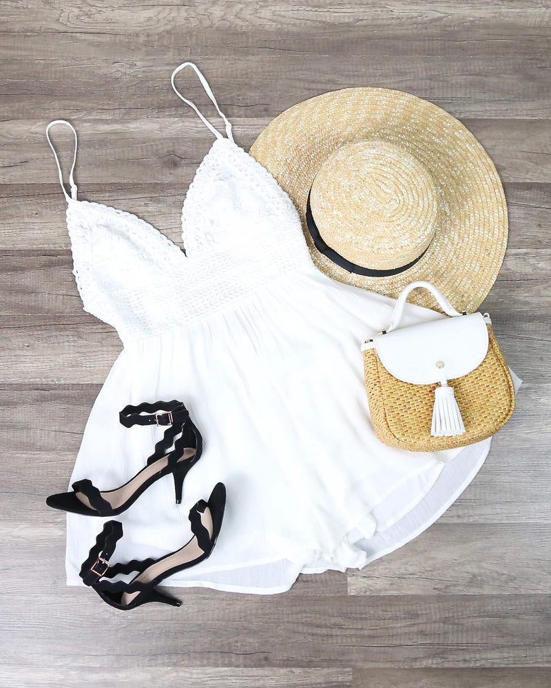 Solid Lace Inset Romper in White