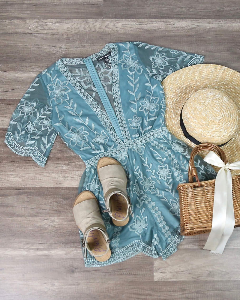 Final Sale - Honey Punch - As You Wish Contrasting Embroidered Lace Romper in Dusty Teal
