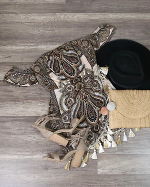Paisley Print Off The Shoulder Romper