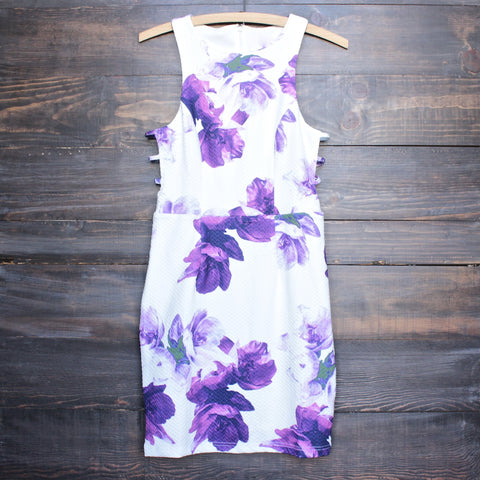 floral print embossed fabric with side cut out dress - shophearts - 1