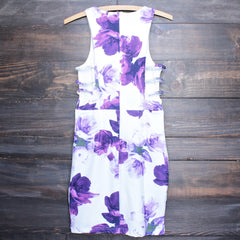 floral print embossed fabric with side cut out dress - shophearts - 2