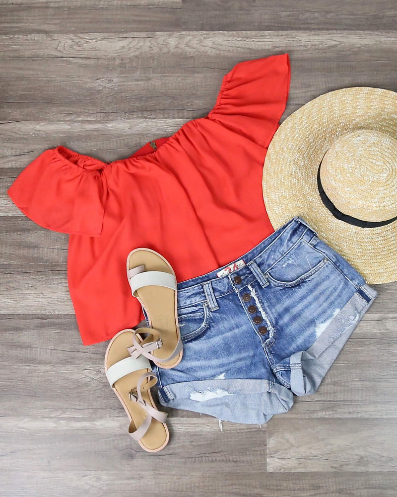 Final Sale - Honey Punch - Casual Chic Off The Shoulder Short Sleeve Top in Cherry Red