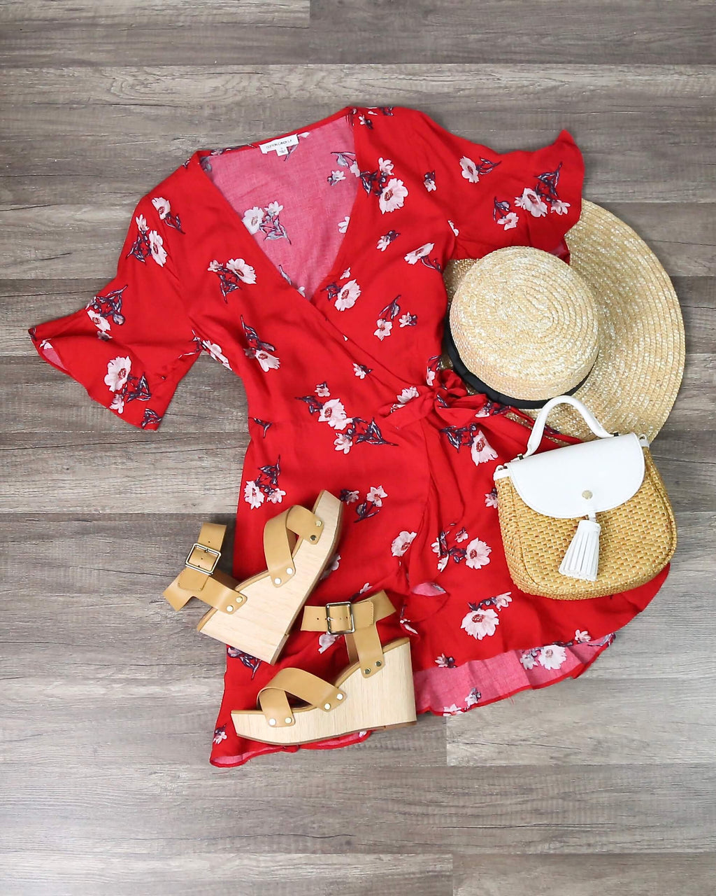 Final Sale - CottonCandy La - Best Buds Wrap Dress - Red