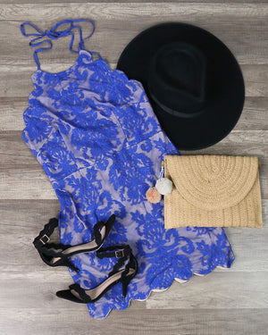 Final Sale - Up All Night Scallop Edge Lace Dress in Blue