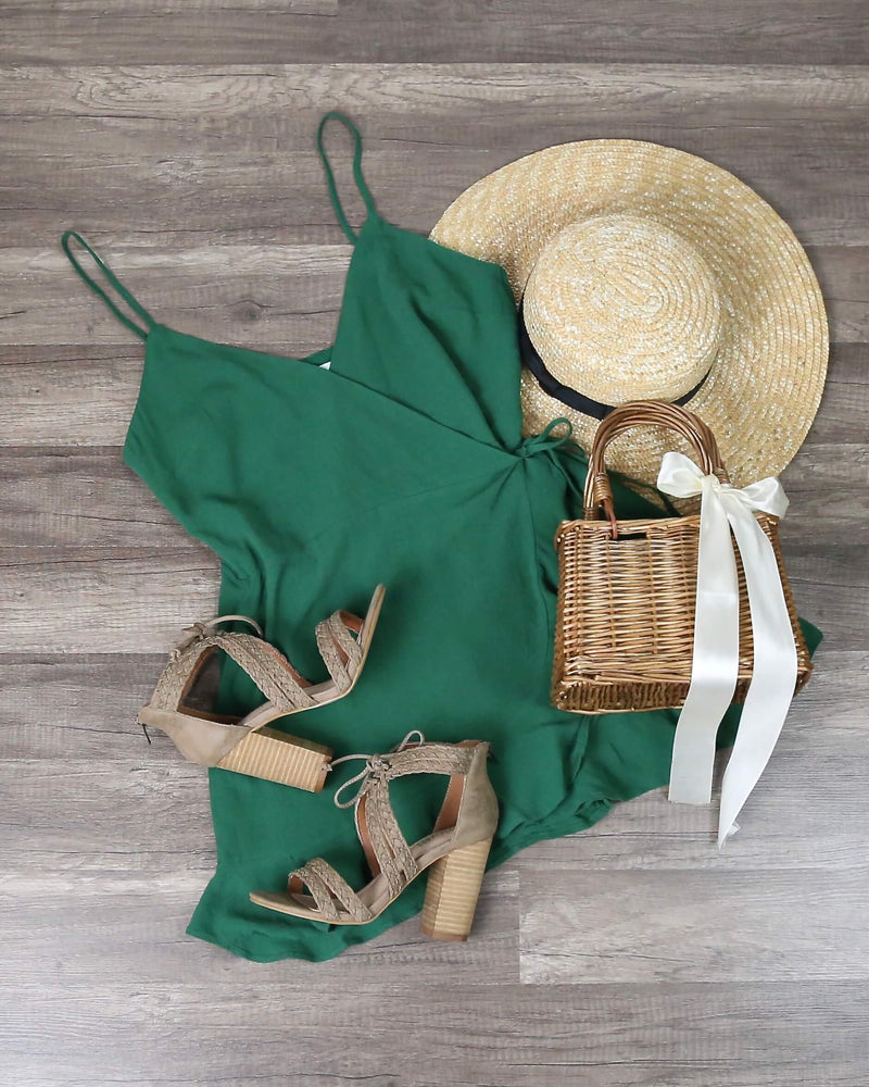 Honey Belle - Soft Rayon Wrap Romper Dress in Green