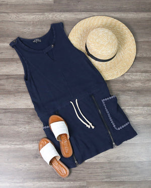 Casual And Comfy Drawstring Waist Dress in Navy