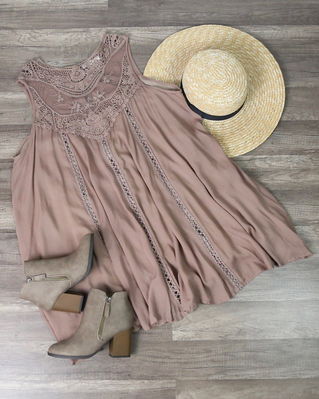 Boho Embroidered Lace Flowy Casual Dress in Taupe