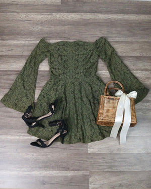 Celeste Embroidered Off The Shoulder Long Sleeved Dress in Olive