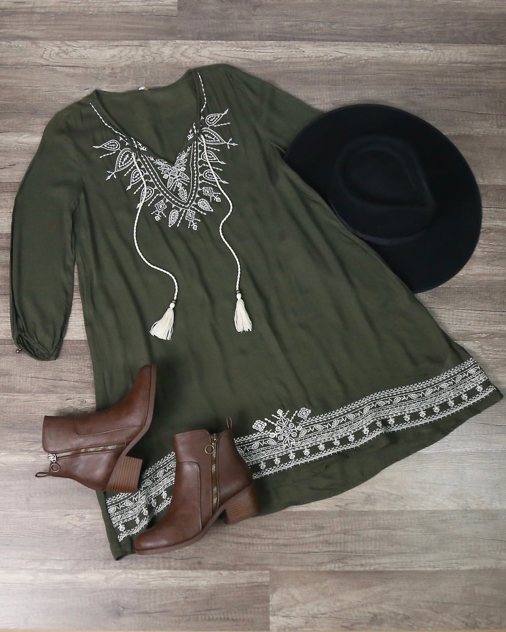 Tassel And Embroidered Boho Shift Dress in Olive