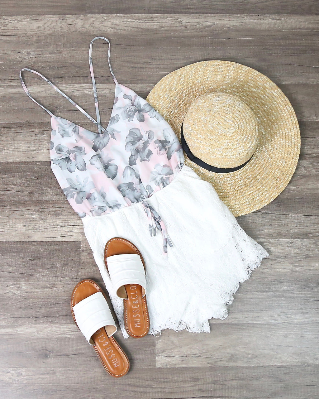 Floral Print And Embroidered Lace Romper in Pink and White