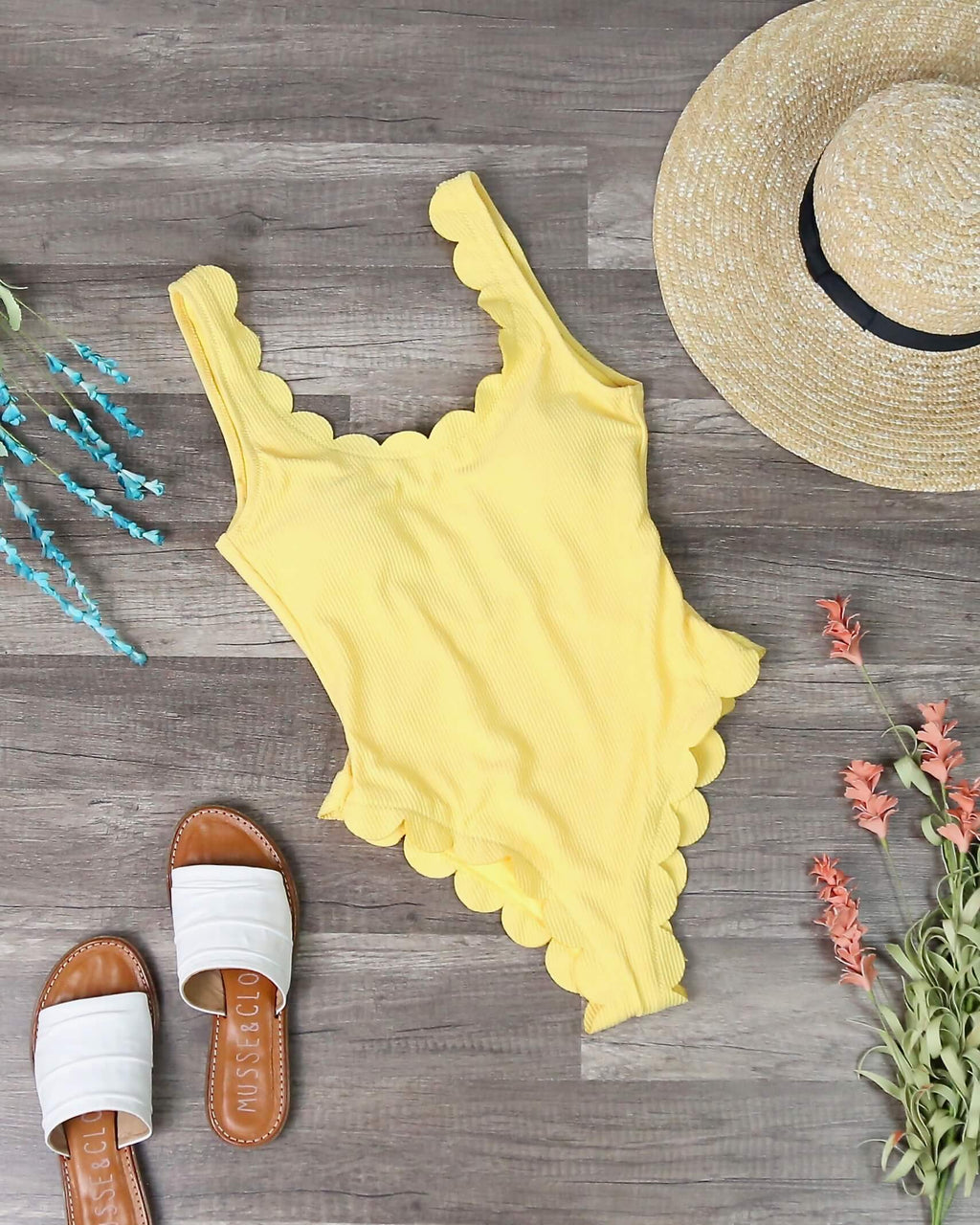 Ribbed Textured Scallop Trim One Piece in Yellow