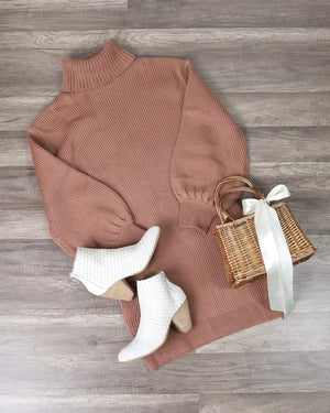 Lush Clothing - Turtleneck Sweater Knit Dress in Dusty Mauve