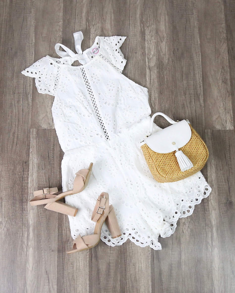 FINAL SALE - Eyelet Floral Romper in White