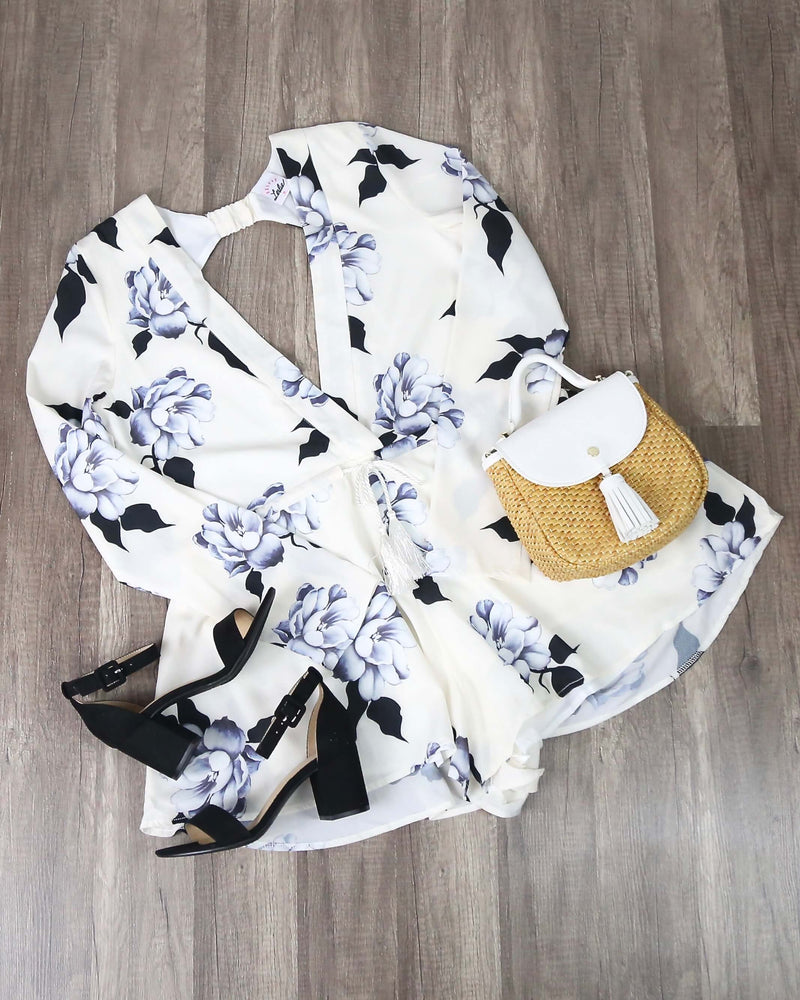 FINAL SALE - Floral Long Sleeve Romper with Tie Waist Tassel in White