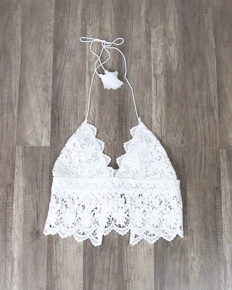 FINAL SALE - Boho Lace Embroidered Crop Top with Tassel Strings in Ivory