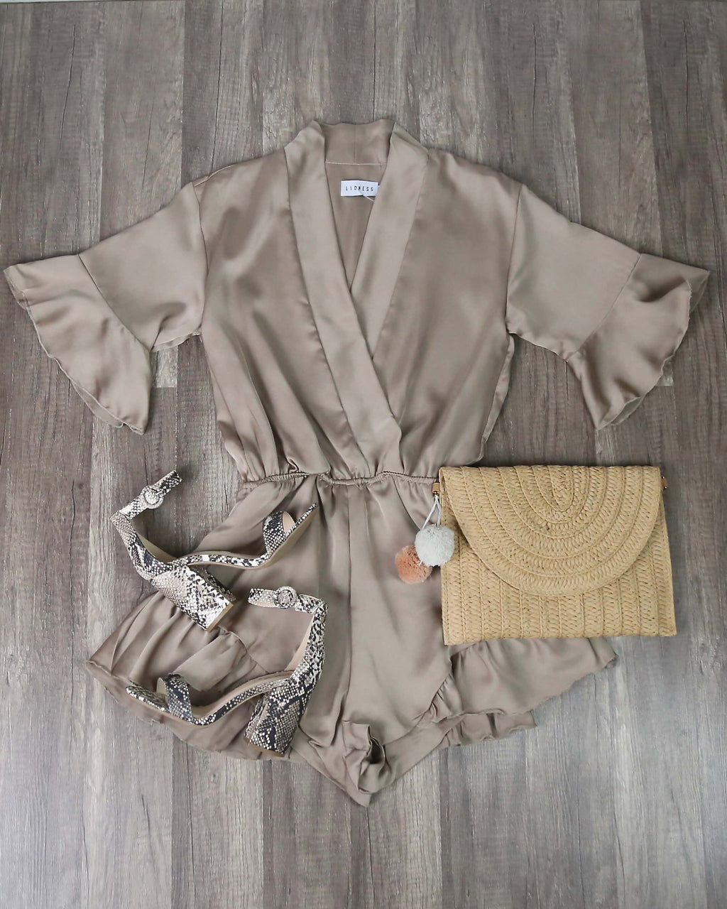 Lioness - Meet Me in Como Silky Romper in Taupe