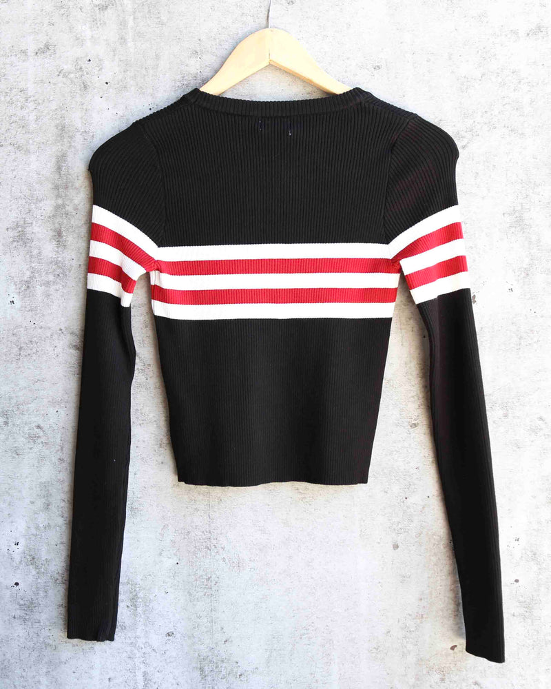 Easy Does It Stripe Knit Ribbed Sweater in Black