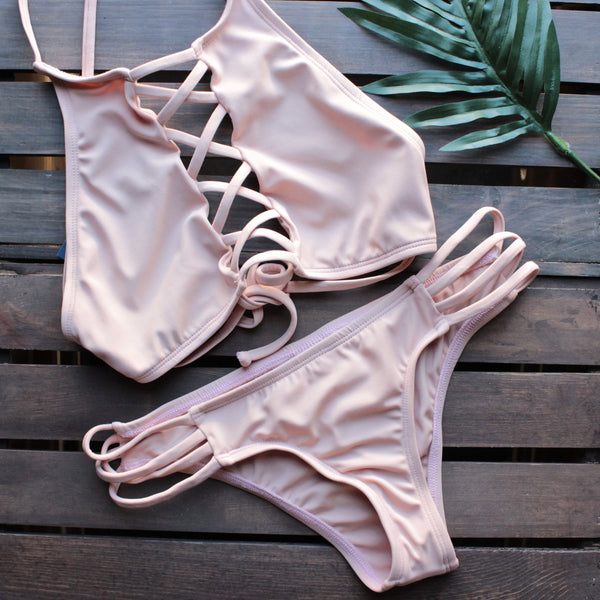 venice high neck crop bikini set in blush - shophearts - 1