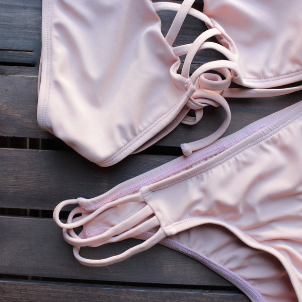 venice high neck crop bikini set in blush - shophearts - 2