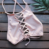 venice high neck crop bikini set in blush - shophearts - 3
