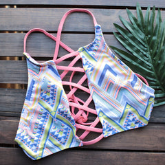 venice high neck crop bikini set in aztec print - shophearts - 2