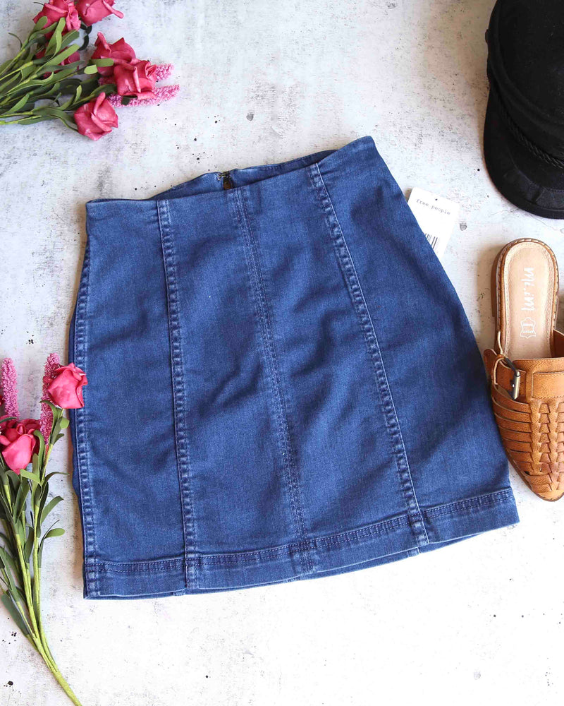 Free People - Modern Femme Novelty Mini Denim Skirt in Nautilus Blue (Dark)