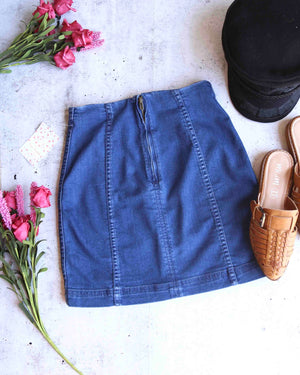 free people - modern femme novelty mini denim skirt - nautilus blue (dark)