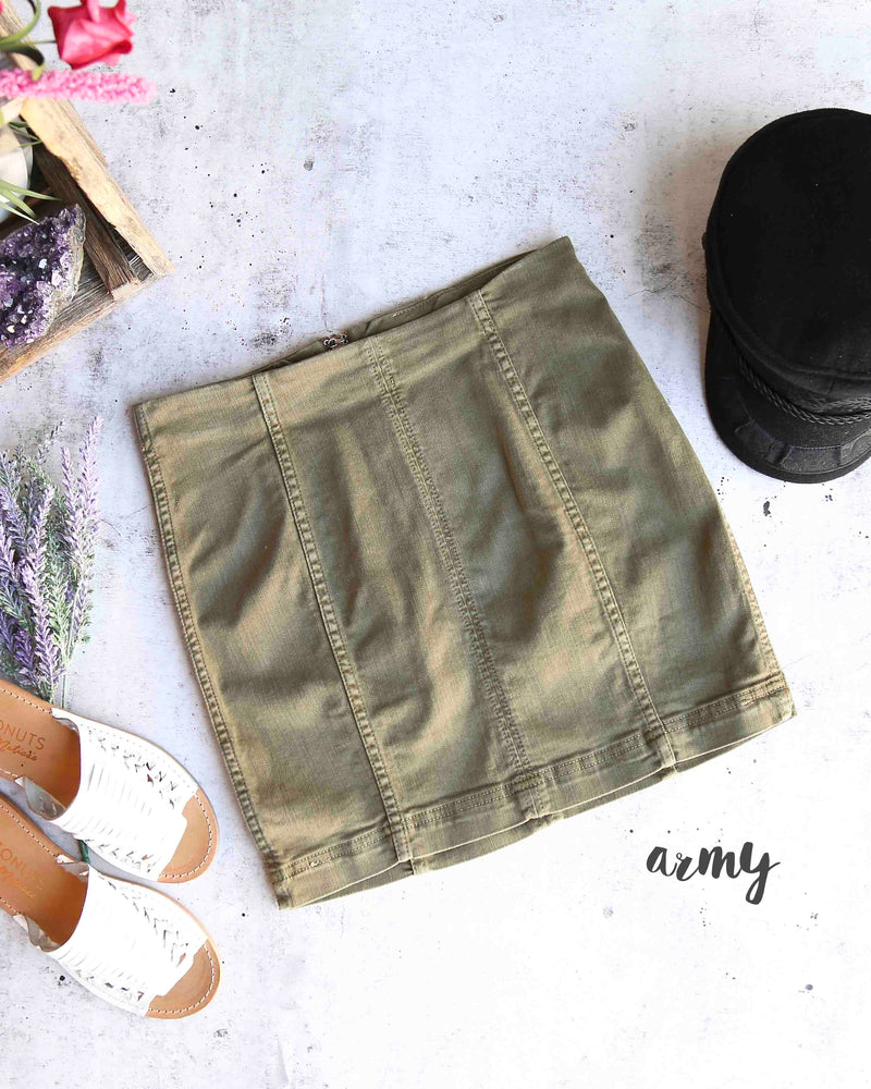 free people - modern femme novelty mini denim skirt - army