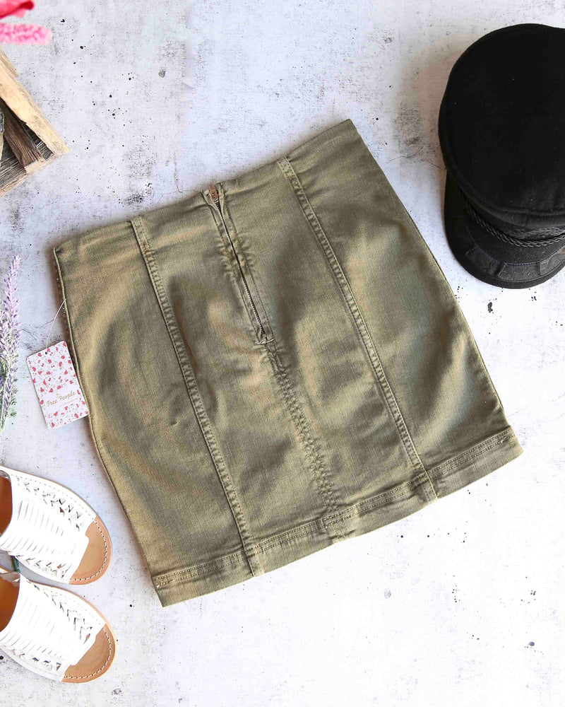 Free People - Modern Femme Novelty Mini Denim Skirt in Army