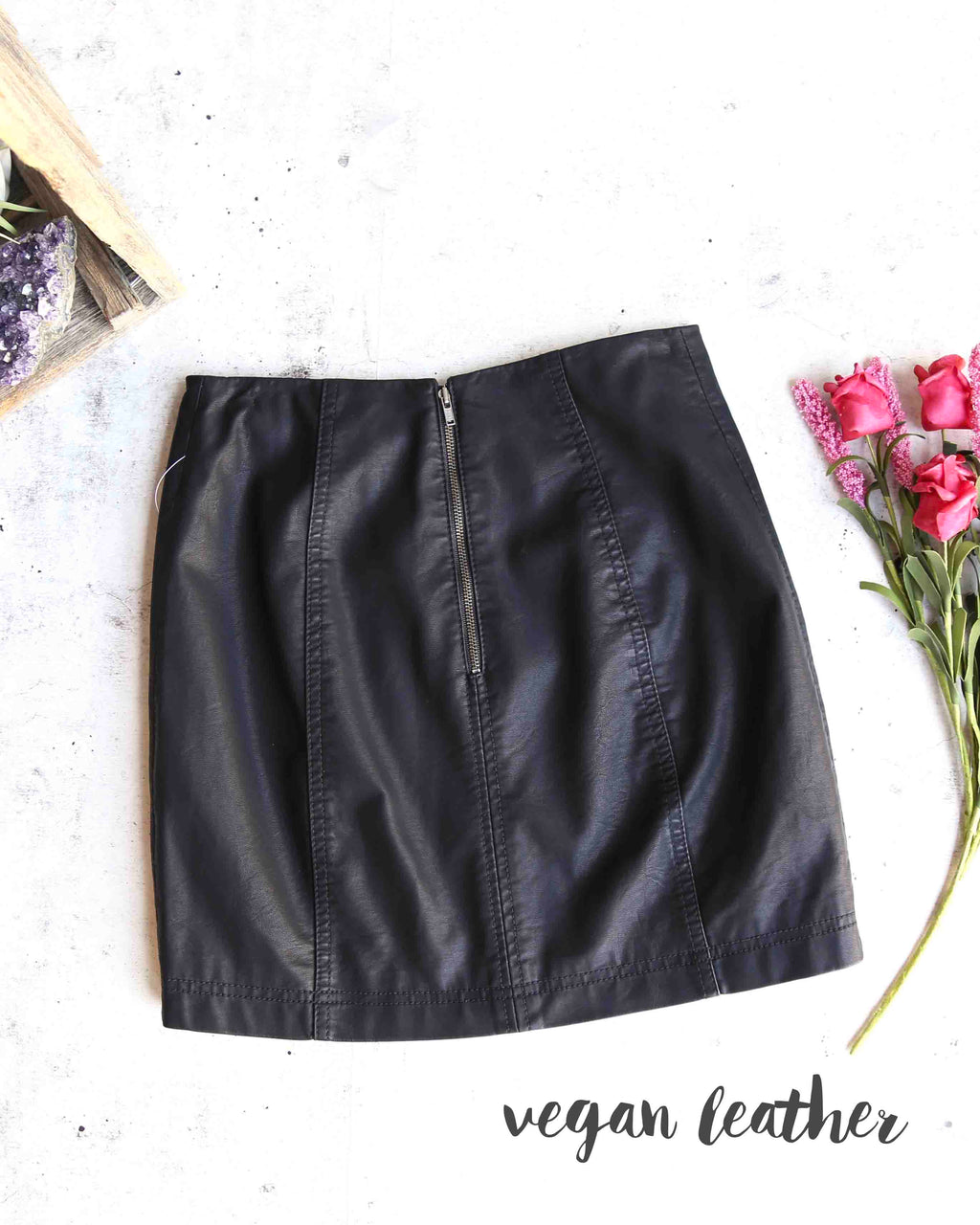 free people - modern femme novelty mini vegan leather skirt - black