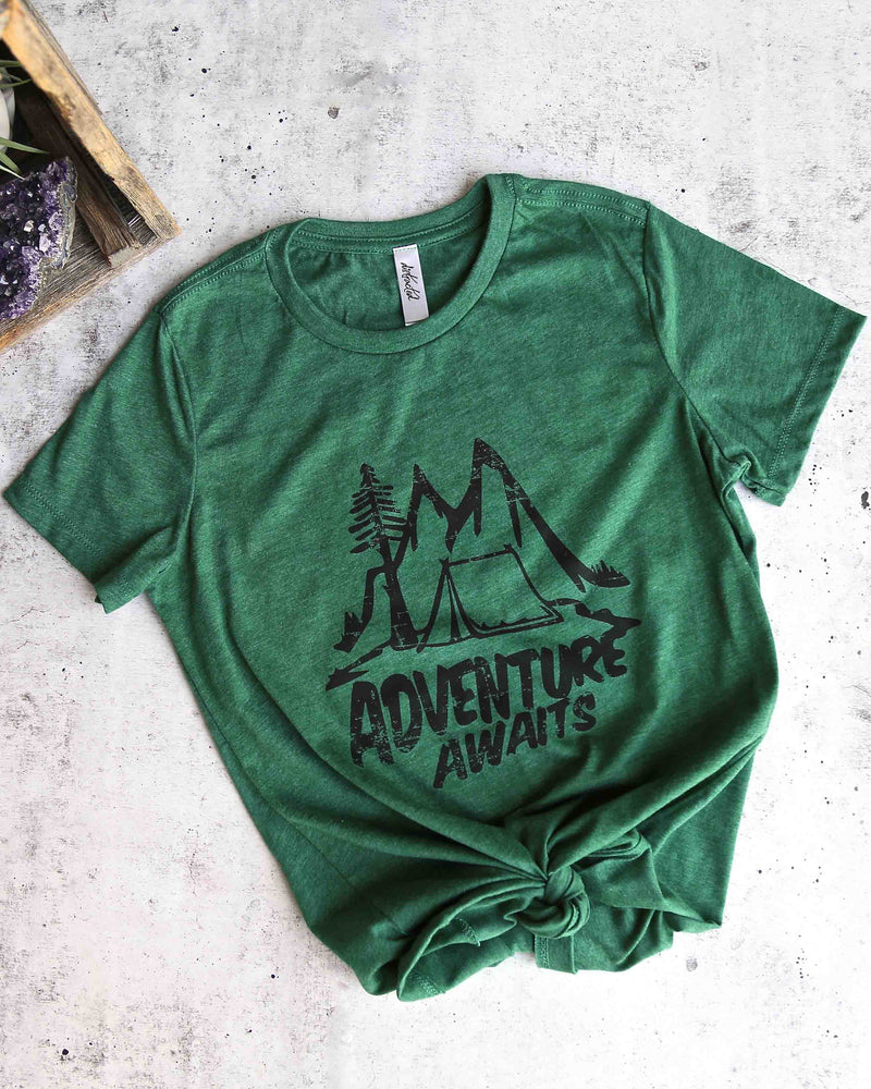 distracted - adventure awaits women's favorite cotton tee - heather forest green