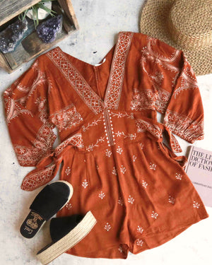 free people - azalia v-neck woven romper - chocolate